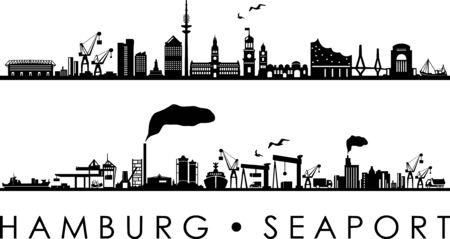 Vecteur de silhouette de contour d'horizon de port maritime de ville de Hambourg