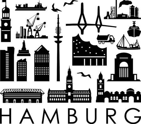 Hamburg City Seaport Skyline Outline Silhouette Vector