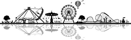 Fun park carousel silhouette vector Ilustración de vector