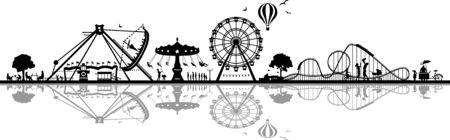 Fun park carousel silhouette vector Vector Illustration