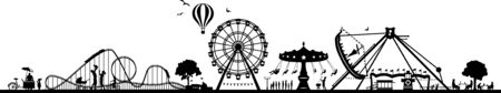 Fun park carousel silhouette vector