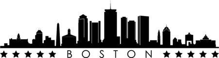BOSTON City Skyline Silhouette Cityscape Vector