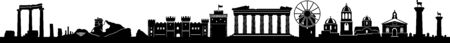 Greece landscape skyline silhouette vector