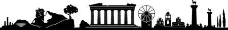 Greece landscape skyline silhouette vector