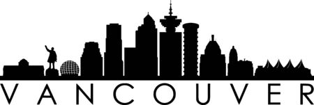 Vancouver City Skyline Silhouette Cityscape Vector