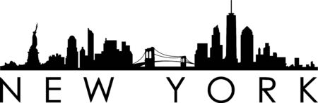 New York City Skyline Silhouette Cityscape Vector