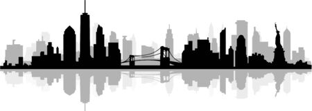 New York City Skyline Silhouette Cityscape Vector