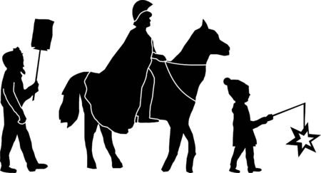 Carneval Procession Child Horse Silhouette Vector