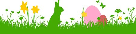 Easter Meadow Flowers Silhouette Vector