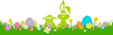 Easter Meadow Flowers Silhouette Vector 向量圖像