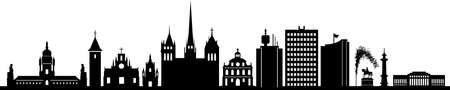 Geneva City Switzerland Skyline Silhouette Cityscape Vector Ilustración de vector