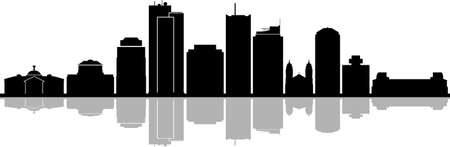 Phoenix City Arizona Skyline Silhouette Cityscape Vector