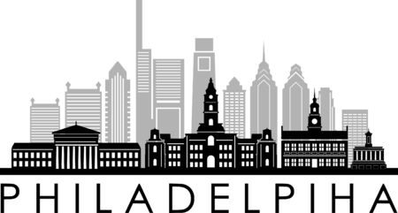 PHILADELPHIA City Skyline Silhouette Cityscape Vector