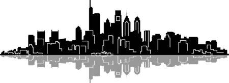 PHILADELPHIA City Skyline Silhouette Cityscape Vector  イラスト・ベクター素材