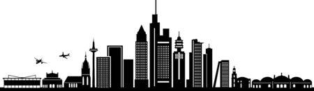 FRANKFURT MAIN City Skyline Silhouette Cityscape Vector Vektoros illusztráció