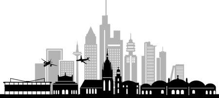 FRANKFURT MAIN City Skyline Silhouette Cityscape Vector