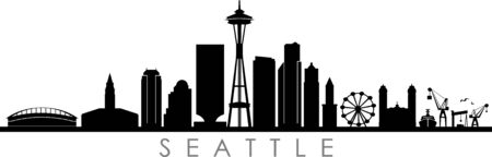 SEATTLE City Skyline Silhouette Cityscape Vector