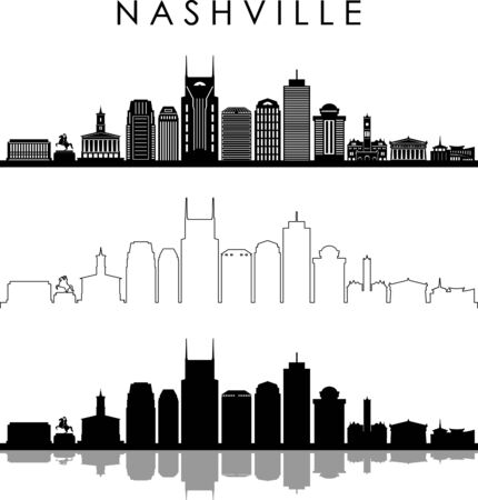 NASHVILLE City Skyline Silhouette Cityscape Vector