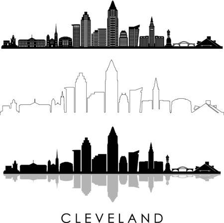 CLEVELAND OHIO City Skyline Silhouette Cityscape Vector Vetores