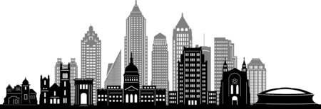 ATLANTA GEORGIA City Skyline Silhouette Cityscape Vector