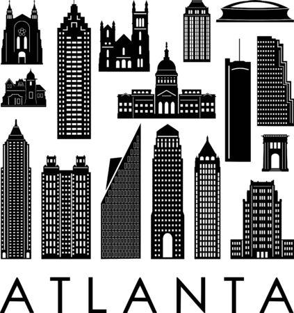 ATLANTA GEORGIA City Skyline Silhouette Cityscape Vector