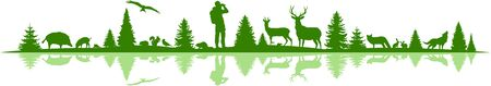 Landscape Nature Forest Animal Silhouette Vector Vettoriali
