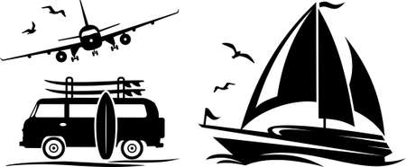 Holiday transport icons silhouette vector Illustration