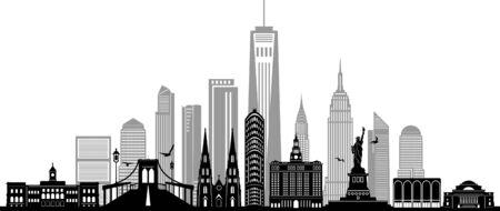 NEW YORK City Skyline Silhouette Cityscape Vector Ilustração
