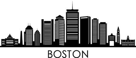 BOSTON City Massachusetts Skyline Silhouette Cityscape Vector Illustration