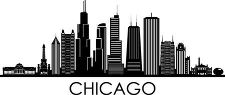 Ville de CHICAGO Illinois Skyline Silhouette Cityscape Vector