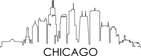 CHICAGO City Illinois Skyline Silhouette Cityscape Vector Illustration
