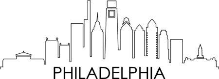 PHILADELPHIA City Pennsylvania Skyline Silhouette Cityscape Vector