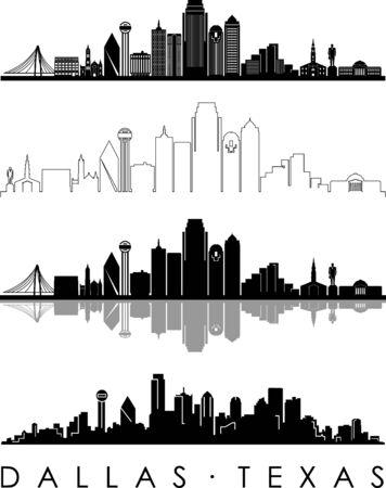 DALLAS City Texas Skyline Silhouette Cityscape Vector