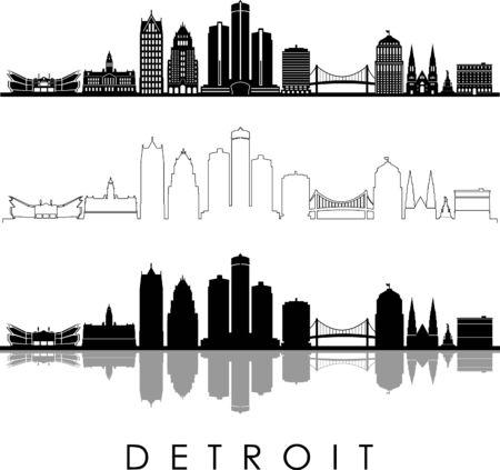 DETROIT City Michigan Skyline Silhouette Cityscape Vector