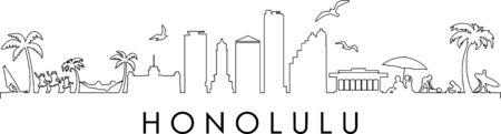HONOLULU City HAWAII Skyline Silhouette Cityscape Vector Illustration