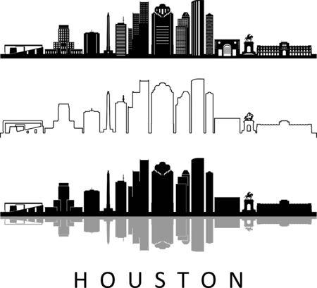 HOUSTON City Texas Skyline Silhouette Cityscape Vector