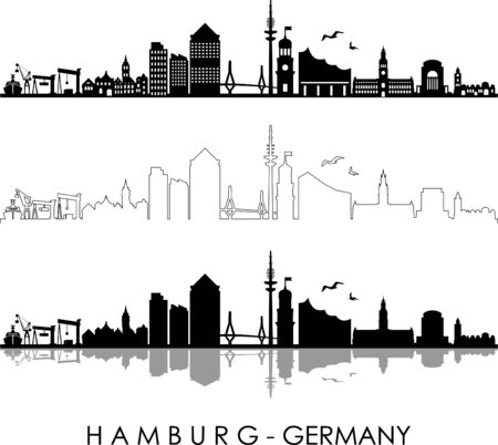 HAMBURG City GERMANY Skyline Silhouette Cityscape Vector