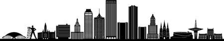 TULSA City Oklahoma Skyline Silhouette Cityscape Vector