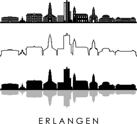 Erlangen City Bavaria Skyline Silhouette Cityscape Vector