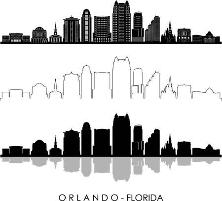 Orlando City Skyline Silhouette Cityscape Vector Illustration