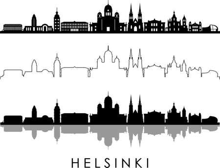 HELSINKI City FINLAND Skyline Silhouette Cityscape Vector