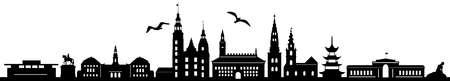 COPENHAGEN City DENMARK Skyline Silhouette Cityscape Vector