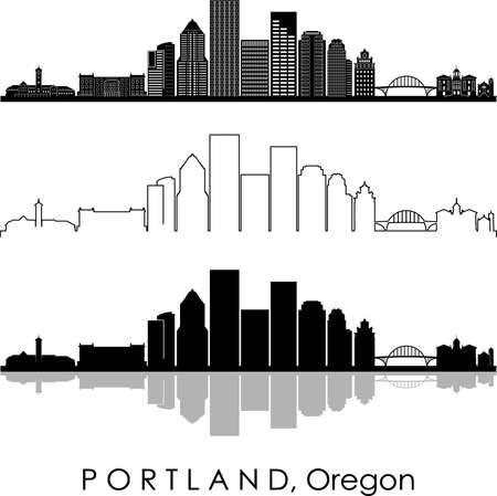 PORTLAND City Oregon Skyline Silhouette Cityscape Vector