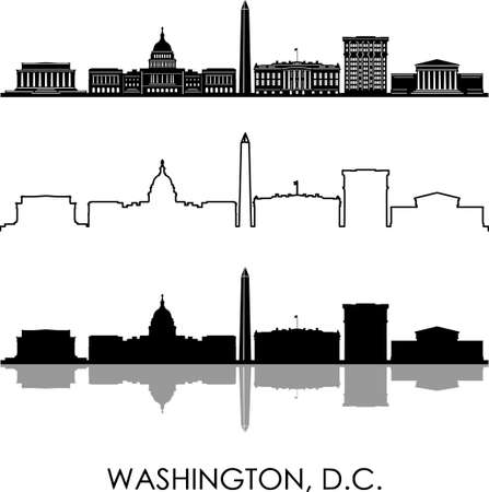 WASHINGTON USA skyline silhouette cityscape vector Illustration