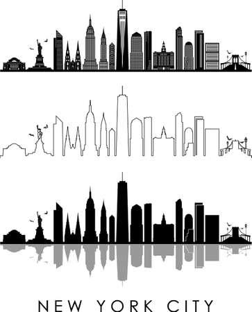 NEW YORK CITY USA skyline silhouette cityscape vector Illustration