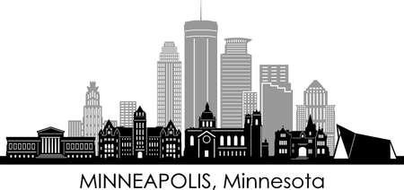 MINNEAPOLIS City Minnesota Skyline Silhouette Cityscape Vector Illustration