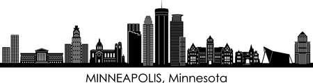 MINNEAPOLIS City Minnesota Skyline Silhouette Cityscape Vector Vettoriali