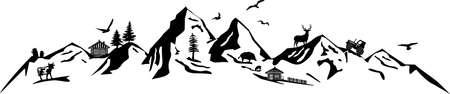 Mountain landscape nature silhouette vector