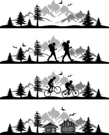 Bike Hike Nature landscape vector SET