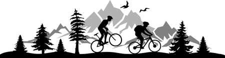 Biker mountain bike landscape vector